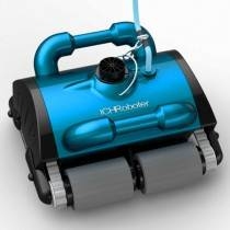 ICH iCleaner 120 Robotic Pool Cleaner w/Caddy & Remote. Floor, Wall, Waterline, All Surfaces - Light Blue