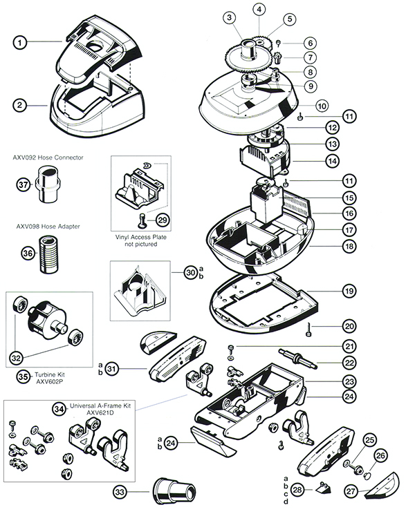 Hayward Pool Vac Ultra / XL Spare Parts Diagram